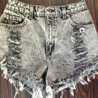 High Waisted Denim Shorts - Acid Wash, vintage distressed denim, xsmall - plus size
