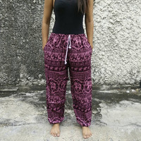 Exotic Pink Elephant Print Trousers Yoga Harem Pants Hippie Baggy Boho Fashion Style Clothing Gypsy Tribal Cloth For Beach Summer Chic