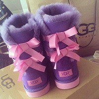 UGG classic hot-selling mid-tube double-layer bow snow boots men and women boots shoes-3