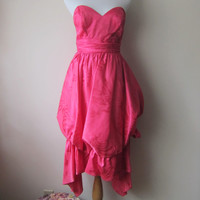 80s Hot Pink Prom Dress -- TOTALLY 80s Strapless Bubble Skirt Cocktail Dress w/ Crinoline -- Great Costume!