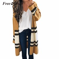 Free Ostrich Cardigans 2018 Autumn Knitted Sweater Striped Sweater for Woman Oversized Full Sleeve Girls S25
