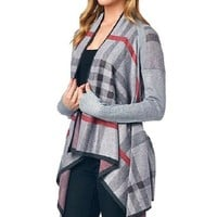 Women's Plaid Cardigan Sweater Grey