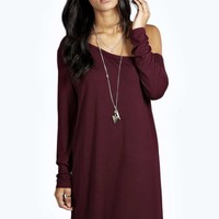 Rita Slash Neck Long Sleeve Slouch Dress