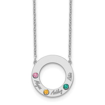 Personalized Round Open Disc w/ Names & Birthstones Mother's Family Pendant Necklace