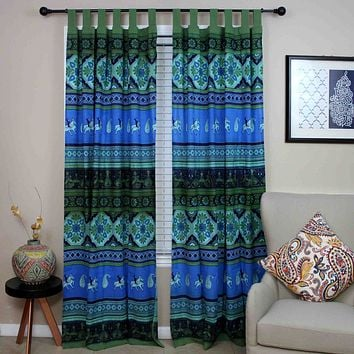 Tab Top Curtain Drape Floral Tie Dye Blue Green 44x88 Cotton Kitchen Door Panel