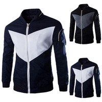 Two Color Contrast Zip Up Jacket with Sleeve Pocket