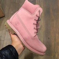 timberland boos with fur upper leather pink
