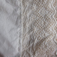 Eyelet dust ruffle - Solid Ecru ivory cream or white King or QUEEN 18 20 22 inch drop Dust ruffle bed skirt
