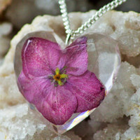 PINK FLORAL NECKLACE - Transparent Resin Jewelry With Real Flowers