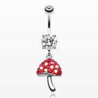 Exotic Mushroom Multi-Gem Sparkle Dangle Belly Button Ring