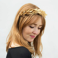 Gold Leaf Headband. Gold Leaf Crown, Greek Wedding, Bridesmaids Gift, Bridal Headpiece, Gold Leaf Headpiece, Leaf Crown, Gold, Greek Goddess