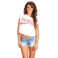 Chaser Coca Cola Crop Muscle Tee White