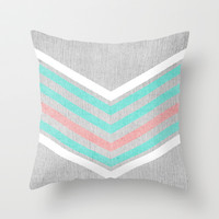 Teal, Pink and White Chevron on Silver Grey Wood Throw Pillow by Tangerine-Tane