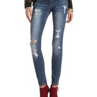 Destroyed Low Rise Skinny Jeans - Med Destroy Denim