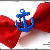 Rockabilly Pin Up Small Hair Bow- Red and Blue Anchor, Fourth of July