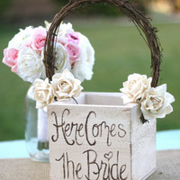 Shabby Chic Flower Girl Basket Rustic Wedding Decor (item B10086)