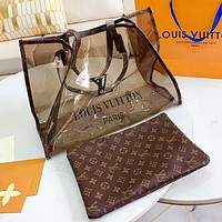 LV Fashion New Monogram Print Leather Handbag Shopping Leisure Shoulder Bag Two Piece Suit