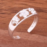 Three Plumeria with Clear CZ See Through Toe Ring