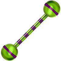 Green Purple Striped Titanium Barbell Tongue Ring | Body Candy Body Jewelry
