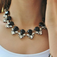 Zoe Black Stone Statement Necklace