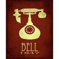 8x10 Science Art Print Alexander Graham Bell Steampunk Rock Star Scientist Telephone Phone Poster Office Geek Smart Dorm Decor