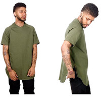Kanye West Hip Hop T Shirt Fashion Tyga Gold Side Zipper 100% Cotton Swag T-Shirt Bieber Army Green Black White Extended Tops