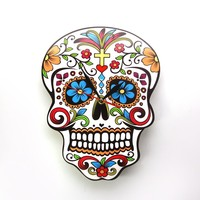 Mexican Day of the Dead Sugar Skull Wall Clock