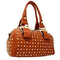 Gorgeous Buckles Bling Rhinestone & Stud Purse Top Handle Bag w/ Shoulder Strap Brown