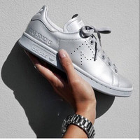 Women Men Casual Sport Print Adidas Stan Smith Shoes Silver