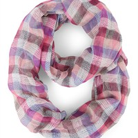 Infinity Scarf with Bright Plaid Print