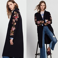 Women Flower Embroidery Cardigan Long Sleeve Middle Long Section Wool Coat