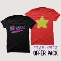 Steven Universe Greg and Rose OFFER PACK 2 tshirts - Mr Universe and Star tshirt red
