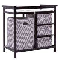 Costway Black Infant Baby Changing Table w/3 Basket Hamper Diaper Storage Nursery - Walmart.com