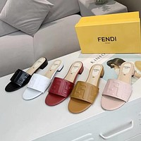FENDI fashion new embossed letters ladies high heel sandals slippers Shoes