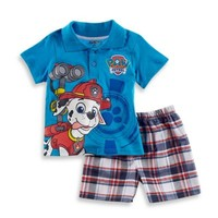Nickelodeon™ Paw Patrol 2-Piece Polo Shirt and Plaid Short Set in Navy/Red