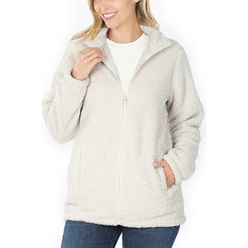 Sherpa High Neck Full Zip Up Jacket