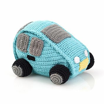 Turquoise Car Fair Trade Knitted Baby Rattle