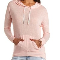 Sheer Knit High-Low Hoodie by Charlotte Russe - Pearl Blush