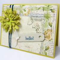 Hello - Any Occasion Card - Vintage Style - Shabby Chic Flower - Bright Yellow - Blank Card - Botanical Print - Hand Stamped Tag