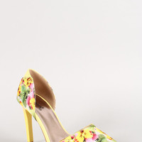 Qupid Floral Pointy Toe Dorsay Pump Color: Yellow Multi, Size: 10