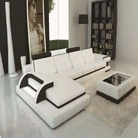 Luxury Polaris White And Black Contemporary Leather Sectional Sofa With LED Light