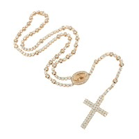 Mens Jesus Christ Tennis Link Rose Gold Finish Rosary Necklace