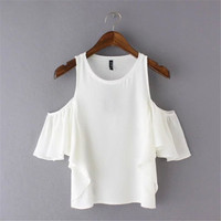 SIMPLE - Popular Fashionable Summer Beach Holiday Cotton Sexy Pullover Off Shoulder Round Necked Short Sleeve b2402