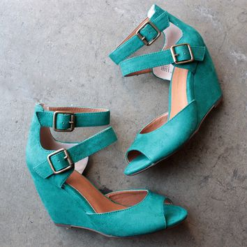 final sale - bc footwear - spark peep toe wedges - teal