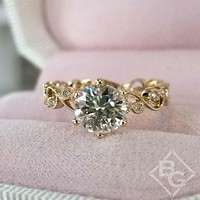 Kirk Kara Yellow Gold Angelique Diamond Milgrain Scroll Work Engagement Ring