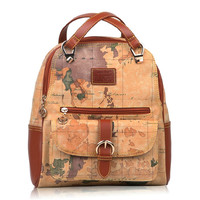World Map Shoulder Bag Backpack Travel Bag Brown