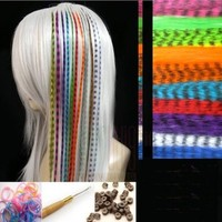 10 Synthetic Grizzly Colored Feather Hair Extensions with Pulling Microneedle and Beads Plus Bonus Ponytail Holder:Amazon:Beauty