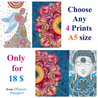 Any 4 Prints Cards A5 size, I love you, Fine Art Prints, Zentangle Art print, Valentines Day Motherday Friendship gift, Yoga Bohemian gift