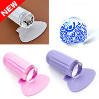 2pcs set Clear Jelly Nail Art Stamper Clear Silicone Marshmallow Nail Stamper & Scraper Stamp Tools
