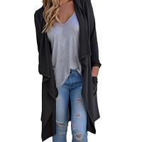 New Fashion Autumn Women Sweater Long Sleeve Tops Hooded Knitted Cardigan Loose Sweater Outerwear Jacket Coat Female Shirt